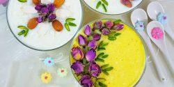 طرز تهیه شیر برنج خامه ای زعفرانی خوشمزه و مجلسی
