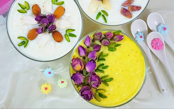 طرز تهیه شیر برنج زعفرانی دزفولی با عسل ماه رمضان افغانی برای 10 نفر با خامه با آرد برنج